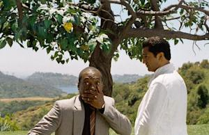 """In this film image released by Paramount Pictures, Eddie Murphy, left, and Cliff Curtis are shown in a scene from """"A Thousand Words."""" (AP Photo/Paramount - DreamWorks Pictures, Bruce McBroom)"""