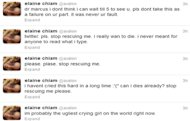 Elaine&#39;s suicidal tweets worried friends