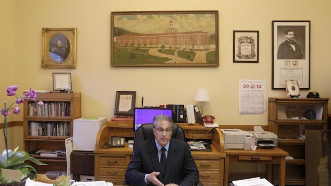 In this photo taken Friday, Oct. 26, 2012, Sheriff Ross Mirkarimi speaks during an interview in his office in San Francisco. After about two weeks back on the job, San Francisco's sheriff said he is humbled and ashamed of the domestic violence case that ended in his criminal conviction and nearly forced him out of office. But Sheriff Ross Mirkarimi said he would not accede to demands by the district attorney and the mayor that he recuse himself from domestic-violence-related programs in the county's jails. (AP Photo/Jeff Chiu)