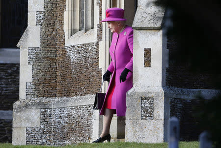 Britain's Queen Elizabeth leaves a Christmas Day morning service at the church on the Sandringham Estate in Norfolk