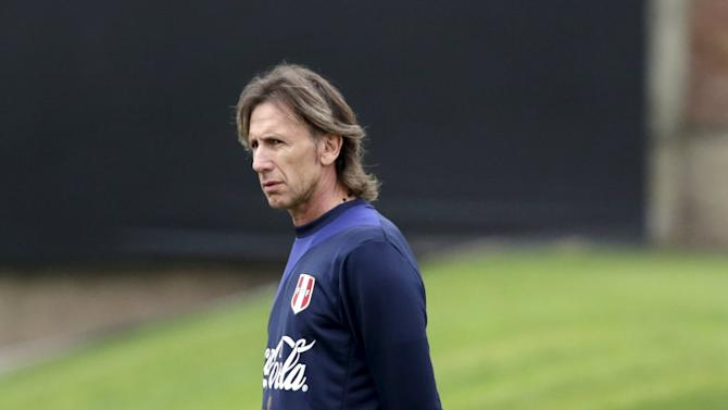 Gareca head coach of Peru's national soccer team looks on during a training session, ahead of Copa America tournament, in Lima
