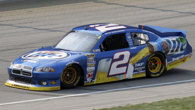 Brad Keselowski drives during the NASCAR Sprint Cup Series auto race  at Chicagoland Speedway in Joliet, Ill., Sunday, Sept. 16, 2012. (AP Photo/Nam Y. Huh)