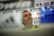Real Madrid's Portuguese coach Jose Mourinho gives a press conference before a training session in Madrid. Johan Cruyff's criticism of Real Madrid's lack of home-grown players drew a typically sarcastic reaction from Mourinho