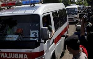 An ambulance bearing the name of Mary Jane Veloso, …
