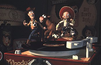 Woody, Bullseye the pony and Jessie the cowgirl in Disney's Toy Story 2