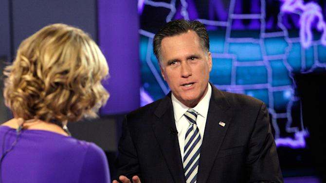 "Republican presidential candidate, former Massachusetts Gov. Mitt Romney is interviewed by Megyn Kelly during a segment of ""America Live"" on the Fox News Channel, in New York,  Wednesday, March 14, 2012. (AP Photo/Richard Drew)"
