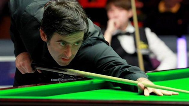 Ronnie O'Sullivan in action at the Welsh Open