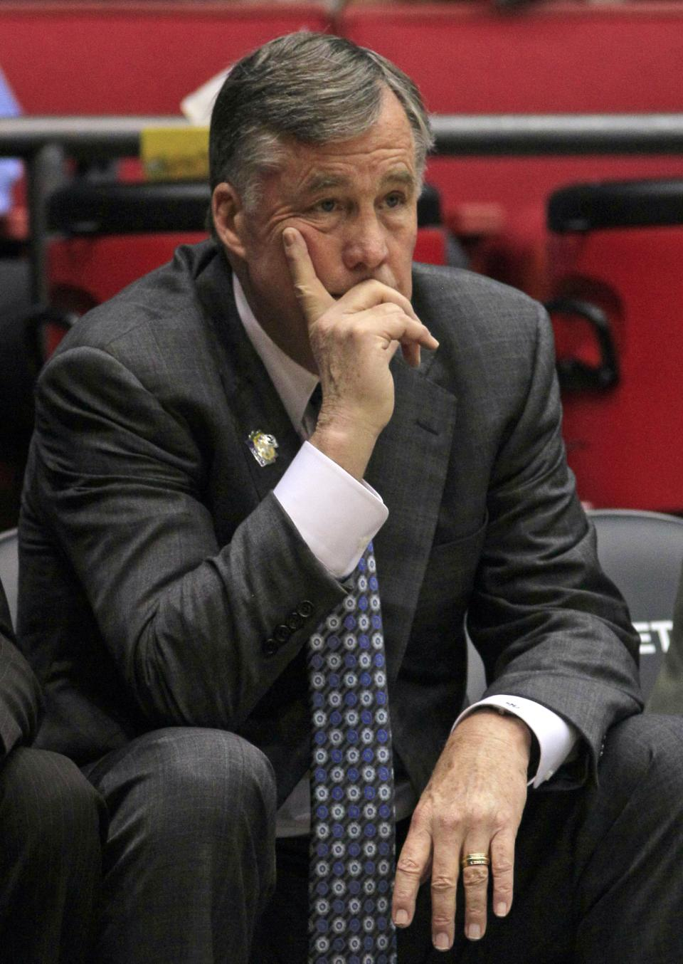California head coach Mike Montgomery watches from the bench in the first half of an NCAA tournament first-round college basketball game against South Florida, Wednesday, March 14, 2012, in Dayton, Ohio. (AP Photo/Al Behrman)