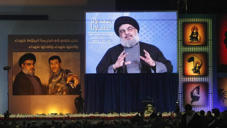 Lebanon's Hezbollah leader Nasrallah addresses his supporters during ceremony to mark death of Hezbollah commander Laqqis in Beirut