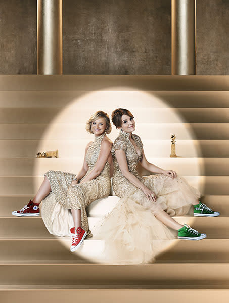 Amy and Tina in their Golden Globes ad