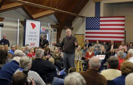 U.S. Republican presidential candidate Jeb Bush speaks during a campaign event in Sumter