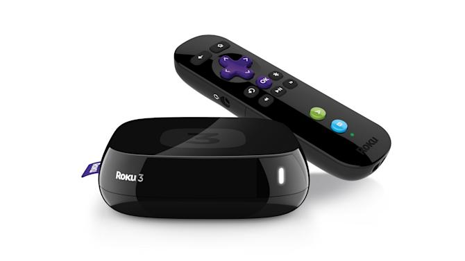 This product image provided by Roku shows the Roky 3. Roku is plugging headphones and several other new features into its latest set-top box for streaming Internet video to TVs, a move that amplifies its effort to upstage Apple's better-selling player. The Roku 3 box going on sale Wednesday, March 6, 2013 also includes a more powerful search engine to find movies, TV shows and music more quickly and new menu for perusing the more than 750 online services available through the device. (AP Photo/Roku)