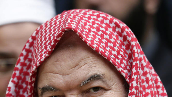 In this Sunday, Dec. 16, 2012 photo, Sheik Said Abdel-Azim a leader of al-Dawa al-Salafiya speaks during a press conference, in Alexandria, Egypt. A politicized religious sermon by a prominent ultraconservative cleric set off angry protests, where sword-wielding supporters of the 87-year old Sheik Ahmed el-Mahalawi clashed for hours with rock-throwing opponents. In an unimaginable twist, the cleric was locked up inside for over 12 hours during the battle, while opponents accused his supporters of detaining protesters and beating them inside the mosque. (AP Photo/Hassan Ammar)