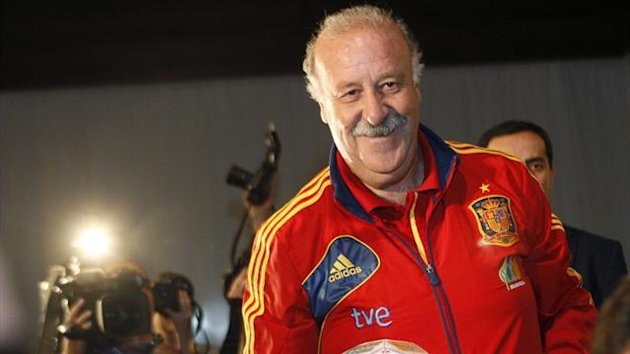 Spain's head coach Vicente del Bosque leaves after a news conference in Tbilisi (Reuters)