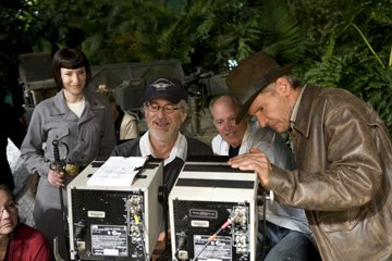 Cate Blanchett , director Steven Spielberg , producer Frank Marshall and Harrison Ford on the set of Paramount Pictures' Indiana Jones and the Kingdom of the Crystal Skull