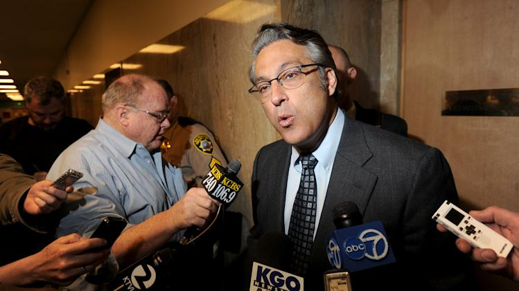 San Francisco Sheriff Ross Mirkarimi leaves court after pleading guilty to a misdemeanor charge of false imprisonment on Monday, March 12, 2012, in San Francisco. In exchange for the plea, prosecutors dropped a domestic violence charge and two other misdemeanor counts stemming from a New Year's Eve incident involving Mirkarimi and his wife Eliana Lopez. (AP Photo/San Francisco Chronicle, Noah Berger)