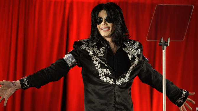 FILE - This March 5, 2009 file photo shows singer Michael Jackson announcing his concerts at the London O2 Arena. Michael Jackson's mother sat in court Thursday, May 2, 2013, as a police detective testified that she told him the family had tried drug interventions for the singer, believing he was addicted to painkillers. But Detective Orlando Martinez said Katherine Jackson told him her son refused any help, saying he didn't have a drug problem. (AP Photo/Joel Ryan, file)