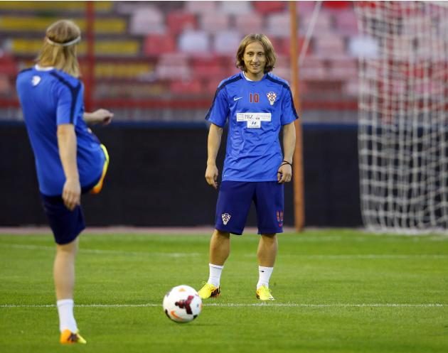Croatia's Modric attends a training session in Belgrade