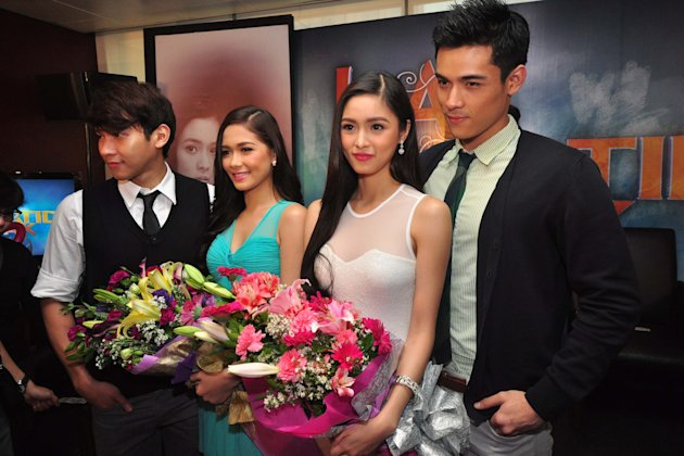 "(L-R) Enchong Dee, Maja Salvador, Kim Chiu and Xian Lim, the lead cast members of the newest kapamilya teleserye titled ""Ina, Kapatid, Anak"". (George Calvelo/NPPA Images)"