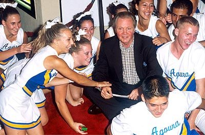 Jon Voight depends on the kindness of cheerleaders at the Mann Bruin Theater premiere of Universal's Bring It On