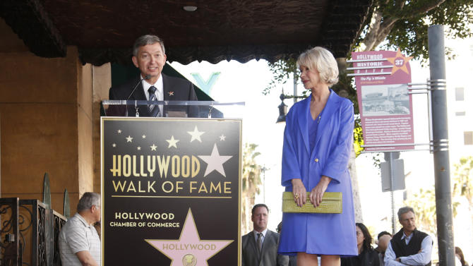 Hollywood Chamber of Commerce's Leron Gubler introduces Actress Helen Mirren at her Hollywood Walk of Fame Ceremony on January 3, 2013 in Hollywood, California.  (Photo by Todd Williamson/Invision for Fox Searchlight/AP Images)
