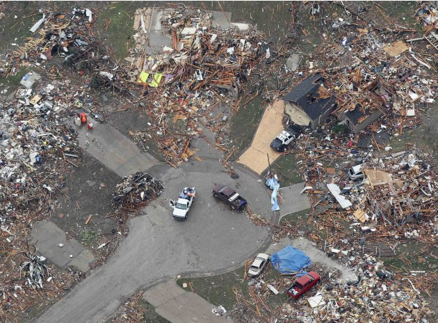 An aerial view of damage in a neighborhood in Moore, Oklahoma