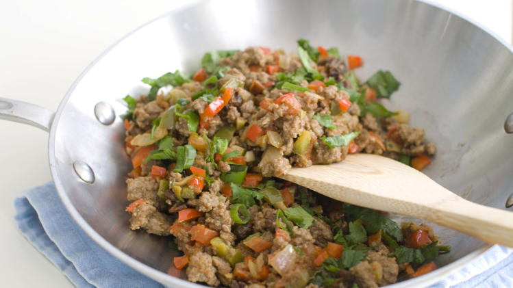 In this image taken on April 2, 2012 wok picadillo is shown in Concord, N.H. (AP Photo/Matthew Mead)