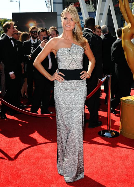 Heidi Klum arrives at the 2013 Primetime Creative Arts Emmy Awards, on Sunday, September 15, 2013 at Nokia Theatre L.A. Live, in Los Angeles, Calif. (Photo by Scott Kirkland/Invision for Academy of Te