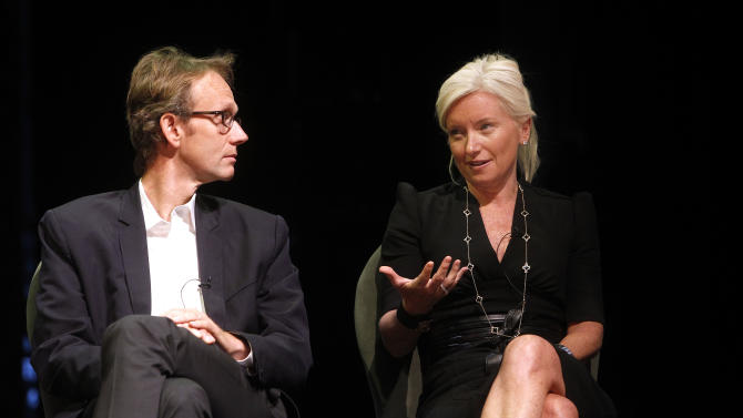 Curt Hecht, Chief Global Revenue Officer for Weather Channel, left, and Carolyn Everson, Vice President of Global Marketing Solutions for Facebook, participate in a panel at Advertising Week on Thursday, Oct. 4, 2012 in New York. (Photo by Jason DeCrow/Invision for Advertising Week/AP Images)