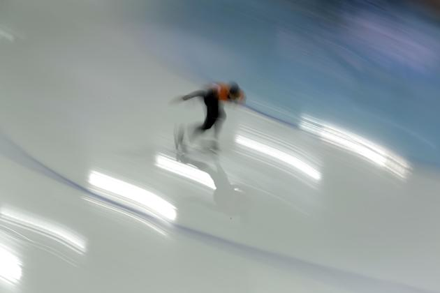 Speedskater Sven Kramer of the Netherlands trains at the Adler Arena Skating Center during the 2014 Winter Olympics in Sochi, Russia, Friday, Feb. 7, 2014. (AP Photo/Patrick Semansky)