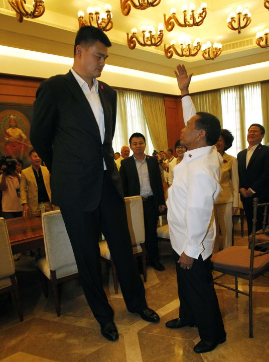 Philippines' Vice President Binay gestures as he talks to Yao during a visit to the Coconut Palace in Manila