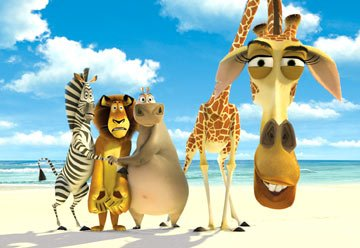 Marty the Zebra (voice of Chris Rock ), Alex the Lion (voice of Ben Stiller ), Gloria the Hippo (voice of Jada Pinkett-Smith ) and Melman the Giraffe (voice of David Schwimmer ) in Dreamworks' Madagas