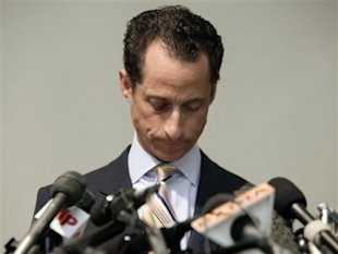 Rep. Anthony Weiner announces his resignation from Congress during a press conference in Brooklyn, N.Y., on June 16. (AP Photo/Richard Drew)