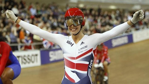 Britain's Rebecca Angharad 'Becky' James celebrates winning the women's keirin final at the 2013 UCI Track Cycling World Championships in Minsk,