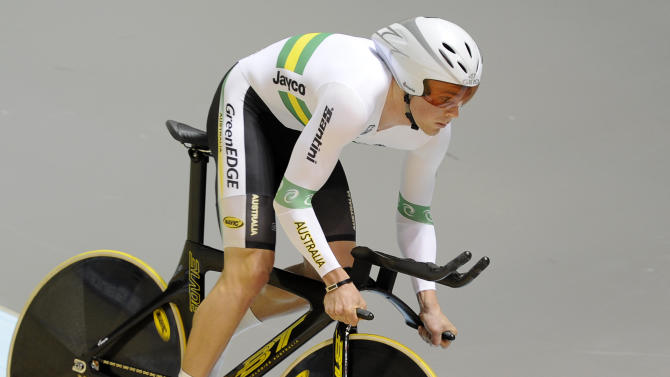 Australia's Michael Hepburn races in the men's individual pursuit qualifying at the Track Cycling World Championships in Melbourne, Australia, Saturday, April 7, 2012. (AP Photo/Andrew Brownbill)