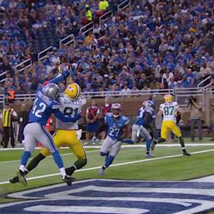 Green Bay Packers quarterback Aaron Rodgers 10-yard touchdown pass to tight end Andrew Quarless