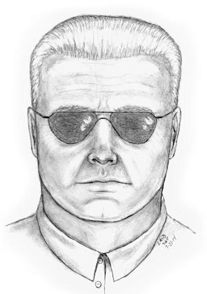 This artist sketch provided by the Society for the Prevention of Cruelty to Animals on Wendesday, July 23, 2014 shows a man who is suspected of shooting and killing a peacock from his Mercedes-Benz in Rancho Palos Verdes, Calif. on July 9, 2014. Witnesses say the bird was standing in a driveway and the man fired from the driver's seat of the silver sedan. (AP Photo/SPCA)