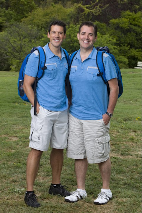 "Flight Attendants Ron Zeitz (left) and Bill Smith compete in ""The Amazing Race 19."""