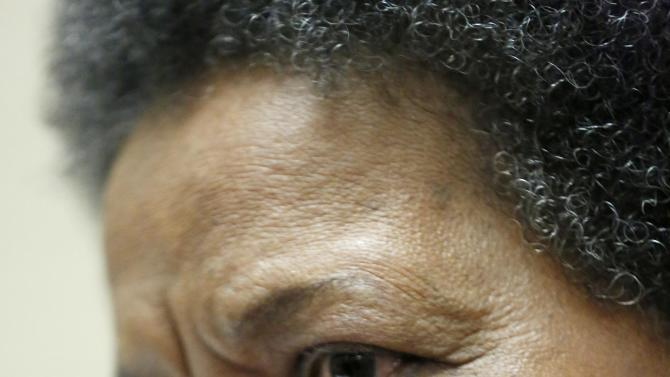 Myrlie Evers-Williams, widow of slain civil rights activist Medgar Evers, announces events commemorating the 50th anniversary of his assassination during a news conference in Jackson, Miss., Thursday, April 11, 2013. (AP Photo/Rogelio V. Solis)