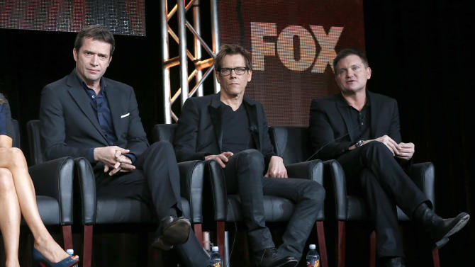 """James Purefoy, Kevin Bacon and Executive Producer/Creator Kevin Williamson from """"The Following"""" attend the Fox Winter TCA Tour at the Langham Huntington Hotel on Monday, Jan. 7, 2013, in Pasadena, Calif. (Photo by Todd Williamson/Invision/AP)"""
