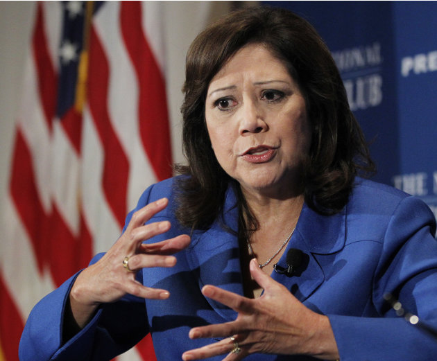 FILE - In this Aug. 30, 2011 file photo, Labor Secretary Hilda Solis speaks at the National Press Club in Washington. An aging population and an economy that has been slow to rebound are straining the