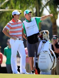 DORAL, FL - MARCH 08: Rory McIlroy of Northern Ireland chats with his cadie J.P. Fitzgerald on the first hole during the third round of the World Golf Championships-Cadillac Championship at Trump National Doral on March 8, 2014 in Doral, Florida. (Photo by Jamie Squire/Getty Images)