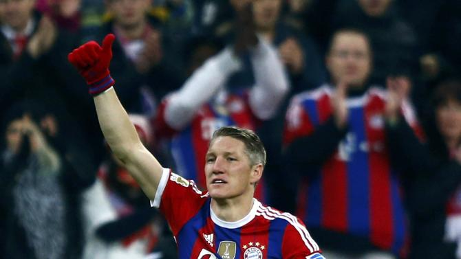 Bayern Munich's Schweinsteiger enters the pitch during their German first division Bundesliga soccer match against Hoffenheim in Munich