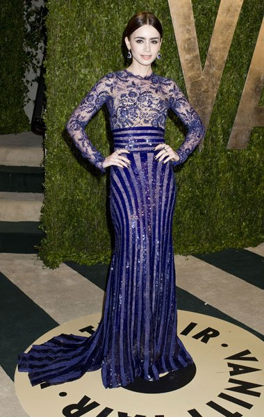 Best dressed: Lily Collins Mirror Mirror Zuhair Murad Vanity Fair Party Image  Rex