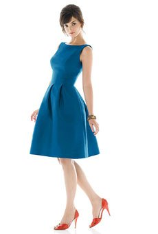High-neck, A-line cocktail dress