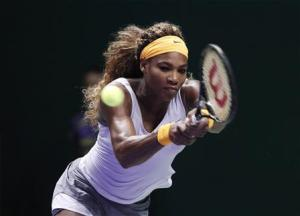 Williams of the U.S. hits a return to Radwanska of Poland during their WTA tennis championships match in Istanbul