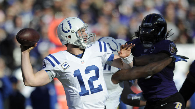 Indianapolis Colts quarterback Andrew Luck (12) looks to pass during the first half of an NFL wild card playoff football game against the Baltimore Ravens Sunday, Jan. 6, 2013, in Baltimore. (AP Photo/Nick Wass)