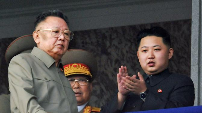 FILE - In this Oct. 10, 2010 file photo Kim Jong Un, right, along with his father and North Korea leader Kim Jong Il, left, attends during a massive military parade marking the 65th anniversary of the ruling Workers' Party in Pyongyang, North Korea.  South Korea's Yonhap News Agency is reporting that the son and heir apparent of North Korean leader Kim Jong Il is visiting China.   The report says Kim Jong Un arrived in the city of Tumen in northeast China on Friday, May 20, 2011. (AP Photo/Kyodo News) JAPAN OUT, MANDATORY CREDIT, NO LICENSING IN CHINA, HONG KONG, JAPAN, SOUTH KOREA AND FRANCE