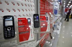 Low-cost mobile handsets from Nokia on display at a store in the western Indian city of Ahmedabad