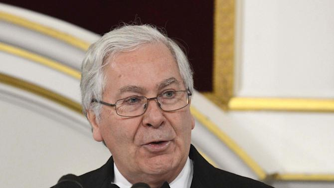 Governor of the Bank of England Mervyn King delivers his Mansion House speech during The Lord Mayor of the City of London's annual Dinner to the Bankers and Merchants, Mansion House, London Thursday June 14, 2012. King say that  an emergency bank lending scheme in an attempt to tackle a squeeze on credit is aimed at encouraging banks to increase their lending to the country's businesses, amid caution sparked by fears over the fate of the eurozone. (AP Photo/Rebecca Naden/PA)  UNITED KINGDOM OUT